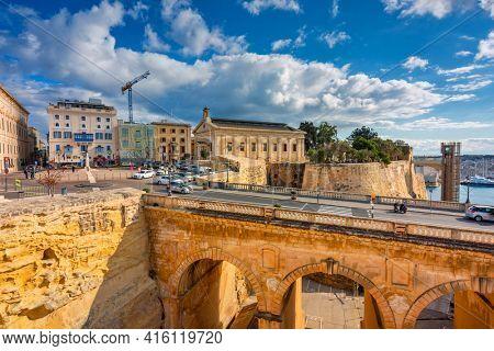 Valetta, Malta - January 11, 2019: Beautiful architecture of the city center in Valletta, the capital of Malta.