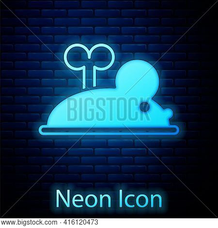 Glowing Neon Clockwork Mouse Icon Isolated On Brick Wall Background. Wind Up Mouse Toy. Vector