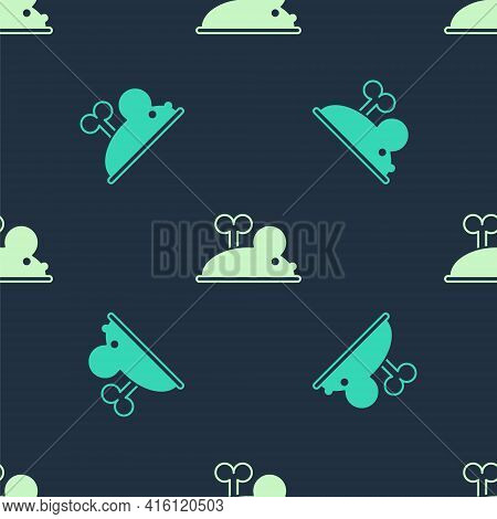 Green And Beige Clockwork Mouse Icon Isolated Seamless Pattern On Blue Background. Wind Up Mouse Toy