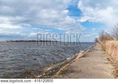 Path To Estuary Vistula River To The Baltic Sea At Windy Day.