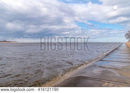 Estuary Vistula River To The Baltic Sea At Windy Day.
