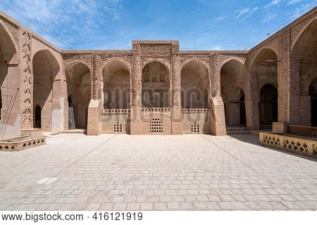 Yazd, Iran - 13.04.2019: Courtyard Of The Historical Jameh Mosque Of Naein, Yazd Province, Iran. Ver