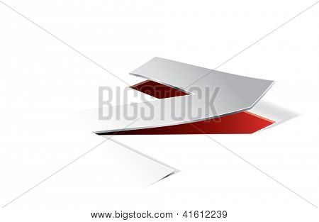 Paper folding with letter Z in perspective view. Editable vector format.