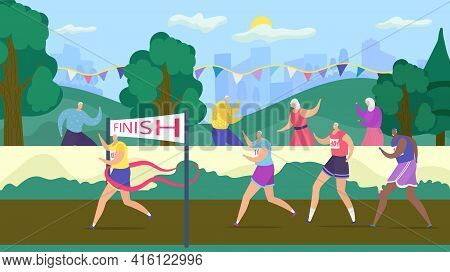 Active Senior Old People Have Fun Compete, Vector Illustration. Happy Retirees Jogging Outdoors In S