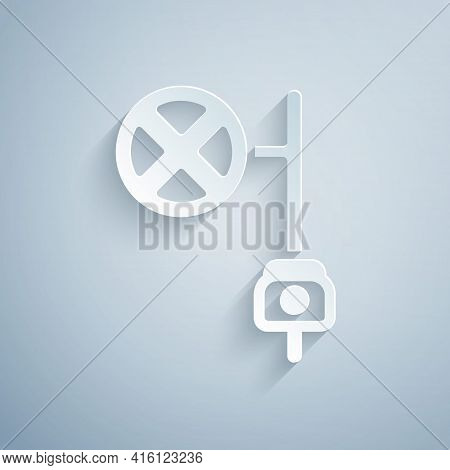 Paper Cut Stop Sign With Camera Icon Isolated On Grey Background. Traffic Regulatory Warning Stop Sy