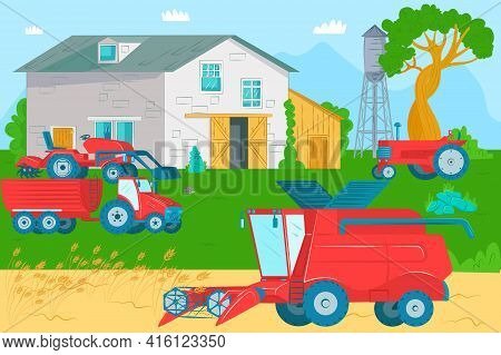 Harvesting With Agricultural Machinery, Vector Illustration. Business Echnology Industrial Growth Fo