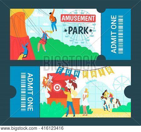 Graphic Design Cartoon Colorful Amusement Park Tickets, Vector Illustration. People In Fairground Ha