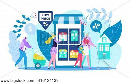 Buy House, Promo Discount, Vector Illustration. Promotion Commercial Advertising For Sale Housing. A