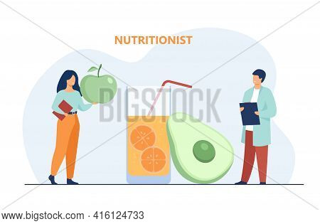 Tiny Nutritionist Explaining About Healthy Diet. Juice, Fruit, Glass Flat Vector Illustration. Healt