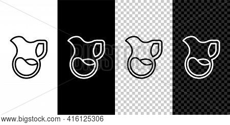 Set Line Jug Glass With Milk Icon Isolated On Black And White, Transparent Background. Kettle For Mi
