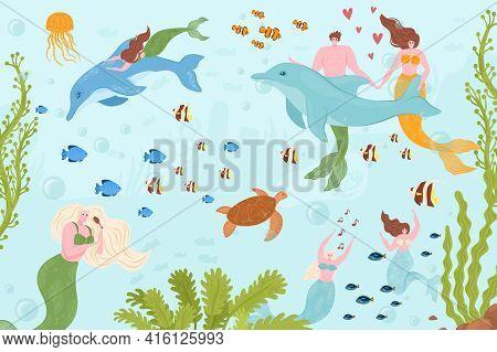 Mermaid Man Woman Character At Sea, Underwater Ocean Life, Vector Illustration. Cartoon Mythical Gir