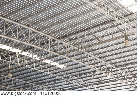 Roof Truss Structure In The Factory Texture Background