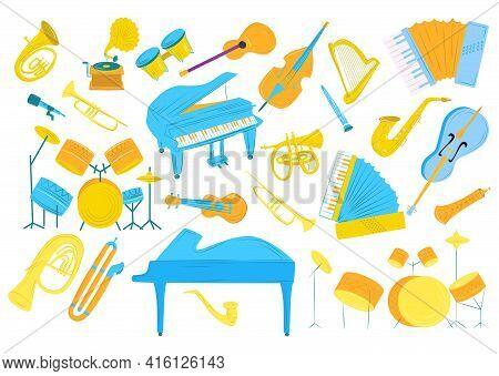 Music Sound By Drums, Guitar, Trumpet Vector Illustration. Musical Instrument Set, Cartoon Violin, S