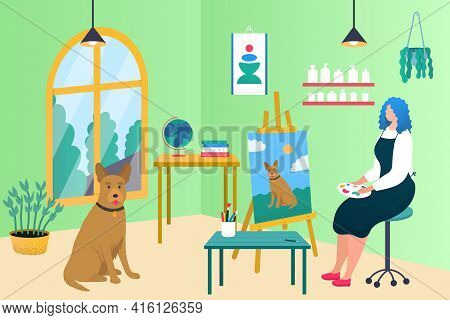 Painter Woman Character Draw Dog, Vector Illustration. Girl Character Have Creative Hobby, Cartoon P