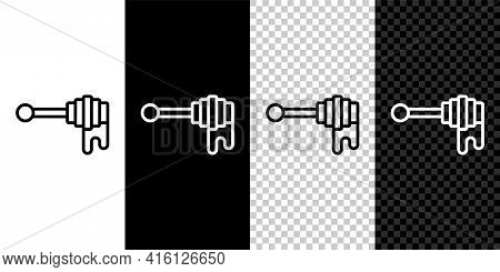 Set Line Honey Dipper Stick With Dripping Honey Icon Isolated On Black And White, Transparent Backgr