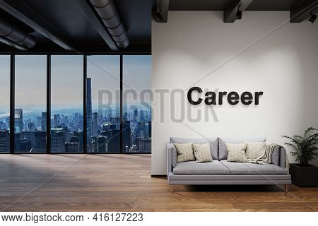 Luxury Loft With Skyline View And Vintage Couch, Wall With Career Lettering, 3d Illustration