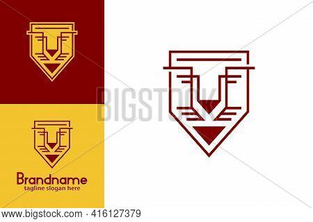 Lion Face Shield Logo. Line Art Style Lion Face With Shield Shape Design Concept. Modern Creative An
