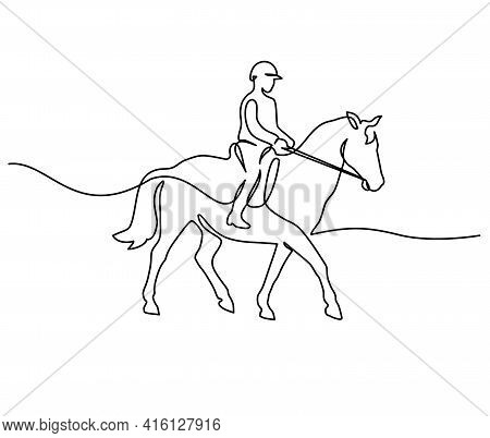 Horse And Rider On Horseback Logo. Continuous One Line Drawing.