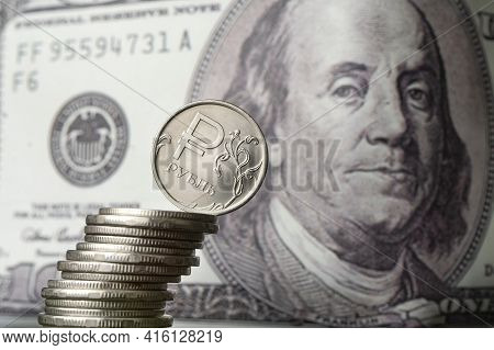Dollars And Rubles. Concept Of Currency Exchange. Economic Crisis, Decline Of The World Economy. Rub