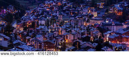 Aerial Night Panoramic Banner View Of Zermatt Village, Switzerland, Swiss Alps