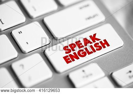 Speak English Button On Keyboard, Education Concept Background