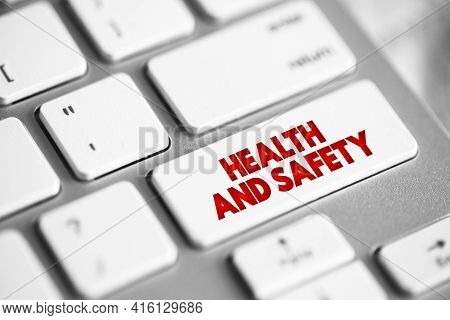Health And Safety Button On Keyboard, Medical Concept Background