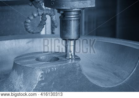 The Cnc Milling Machine Cutting The Cast Iron By Indexable Tool. The Mold And Die Manufacturing Proc