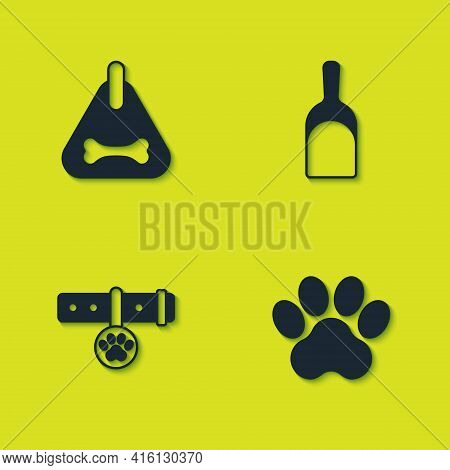 Set Dog Collar, Paw Print, Collar With Name Tag And Dustpan Icon. Vector