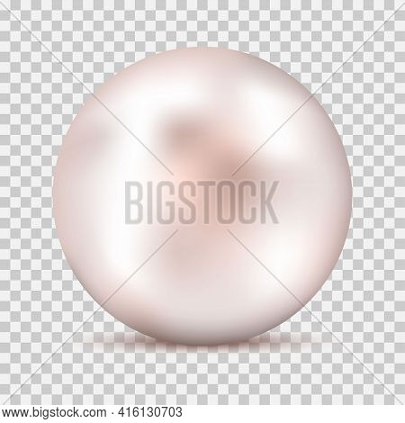 Realistic White Pink Pearl With Shadow Isolated On Transparent Background. Shiny Oyster Pearl For Lu