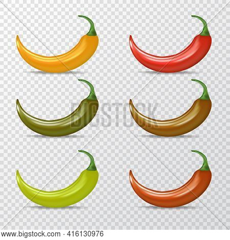 Vector Red, Green, Orange Chili Peppers Icons Set Isolated On Transparent Background. 3d Realistic V