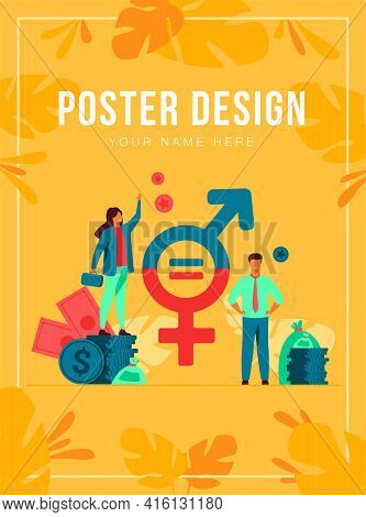 Gender Wage Equality In Business Isolated Flat Vector Illustration. Happy Female And Male Tiny Chara