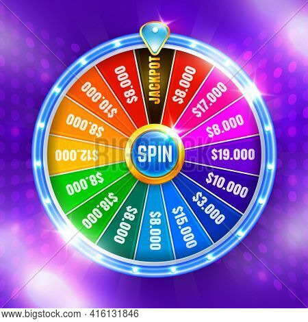 Wheel Fortune. Spinning Fortune Wheel, Lucky Roulette. Casino Neon Colorful. Vector Illustration