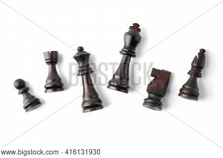 Vintage Chess Board With Checkers, Pawns, Knights, Rooks, Bishops, Queen And King, Black And White C