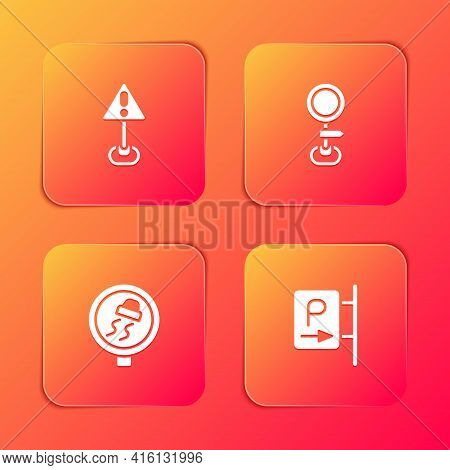 Set Exclamation Mark In Triangle, Road Traffic Sign, Slippery Road And Parking Icon. Vector