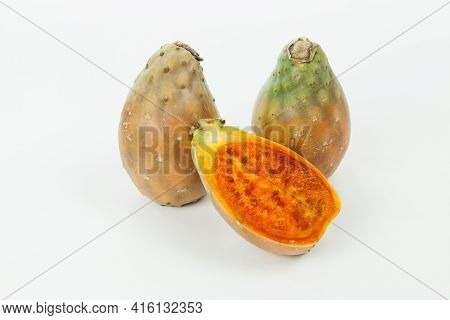 Prickly Pear Cactus Fruits - Opuntia Ficus Indica; Photo On Neutral Background.