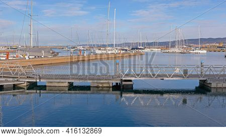 Muggia, Italy - February 4, 2018: Port San Rocco Marina At Adriatic Sea In Muggia, Italy.