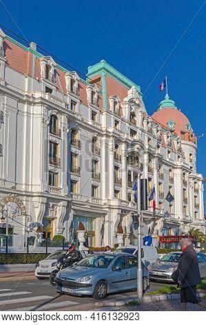 Nice, France - January 29, 2018: Historic Negresco Hotel Building At Sunny Winter Day In Nice, Franc