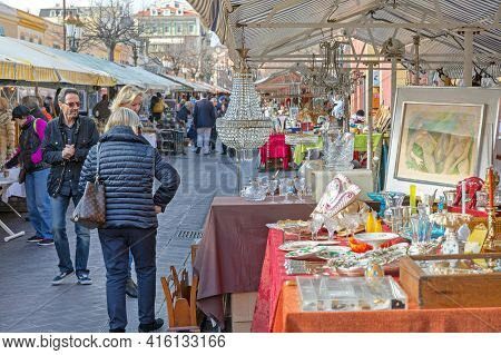 Nice, France - January 29, 2018: Brocante Antique Market At Cours Saleya In Nice, France.