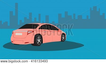 Rear Side View Of Sedarn Car Desert Flower Color Stop For Travel. On Cyan Blue Color Floor. With Cit