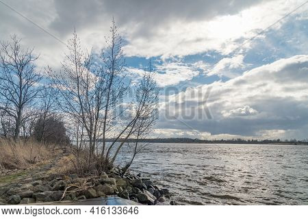 Vistula River Near Estuary Vistula River To The Baltic Sea.