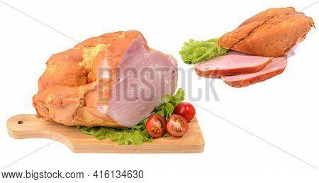 Smoked Pork Loin, Pork Isolated On A White Background.horizontal View