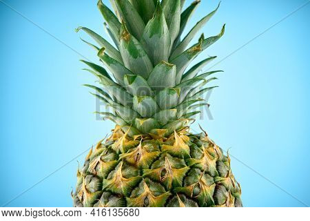 Ripe Pineapple Isolated On White Background. Bright Pineapple In Minimal Style. Fresh Pineapples On