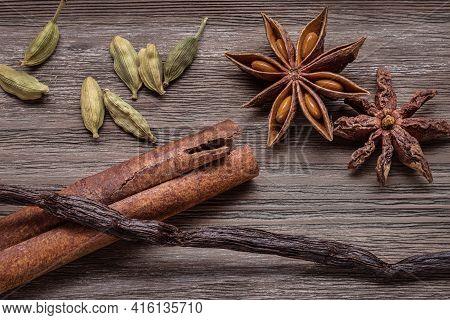 Cinnamon Sticks, Vanilla, Cardamom And Anise, Close-up.