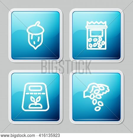 Set Line Acorn, Oak Nut, Seed, Pack Full Of Seeds Of Plant, And Seed Icon. Vector