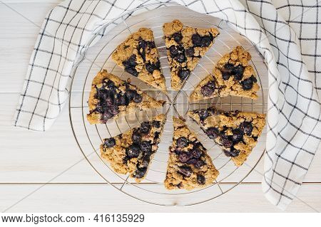 Homemade Oatmeal Scones With Berries On White Wooden Background. Vegan Sweet Baked Food. Gluten Free