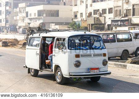 Giza, Egypt - January 26. 2021: Urban Minibus Volkswagen Kombi (t2) In The City Street.