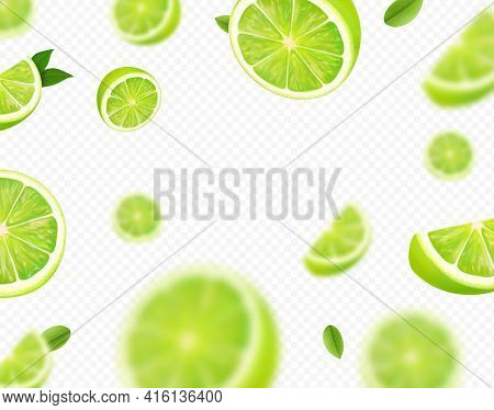 Falling Lime Fruit. Green Slices Of Realistic Lime, Blurred Motion On Transparent Background. Citrus