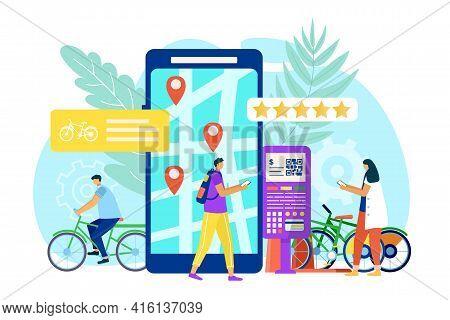 Bike Sharing Concept, City Transport, Vector Illustration. Bicycle Rental Service Mobile Application