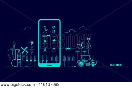 Concept Of Smart Farming Or Agritech, Graphic Of Mobile Phone With Agriculture Technology Applicatio