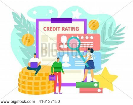 Credit Rating Concept, Vector Illustration. Flat Finance Loan For Man Woman People Character, Bankin